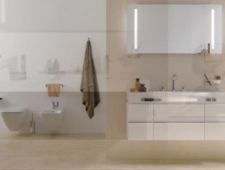 Laufen double vanity unit with wall hung pan and bidet